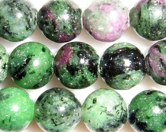 10mm Round Ruby In Zoisite Bead Semiprecious Gemstone Bead - 15''L Jewelry Supply Wholesale Beads