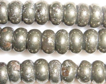 Pyrite Genuine 4mm Rondelle Semiprecious Gemstone Bead String  15''L Jewelry Supply Wholesale Beads