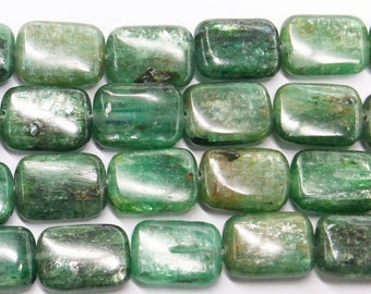 "Kyanite Beads Genuine 13X18mm Rectangle Green  Semiprecious Gemstone 15""L 15""L Bead Wholesale Beads"