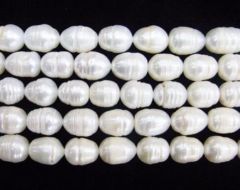 """Freshwater Pearl Beads Genuine Natural Pearl 10-11mm Button White 15""""L Wholesale Pearls"""