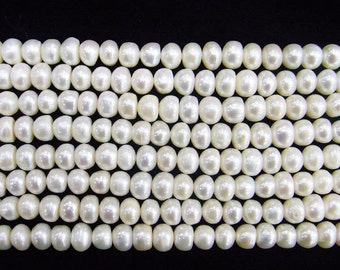 """Freshwater Pearl Beads Genuine Natural Pearl 8-9mm Offround White 15""""L Wholesale Pearls"""