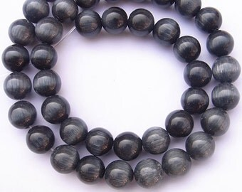 Cat Eye Beads 10mm Round Black Semiprecious Gemstone 15''L Jewelry Supply Wholesale Beads