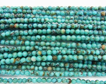"Turquoise Beads 2-3mm Round Semiprecious Gemstone 15""L Bead B Grade Bead Wholesale Beads"