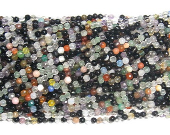 2mm Round Cut Agate Beads Colorful Mix 15''L Natural Genuine Semiprecious Gemstone Bead Wholesale Beads
