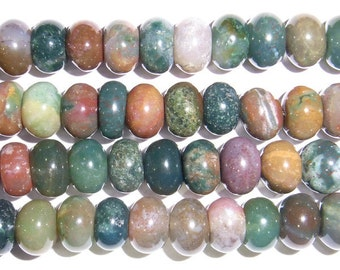 Indian Agate Beads 4x6mm Rondelle 15''L Natural Genuine Semiprecious Gemstone Bead Wholesale Beads