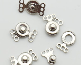 7X14mm Clasp Ball Socket 3 String Silver Tone 25 Loose Beads Wholesale Clasp Finding Bulk Jewelry Supply