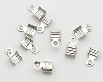4x7mm Wire End Fold Over Silver Tone 250 Loose Beads Wholesale Clasp Finding Bulk Jewelry Supply