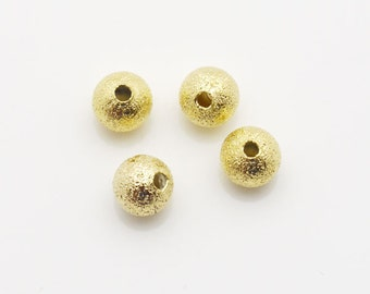 8mm Round Spacer Ball Stardust Gold Tone 200 loose beads Wholesale Spacer Finding Bulk Jewelry Supply