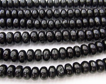"5x8mm Rondelle Black Tourmaline Beads 15""L- Free Shipping"