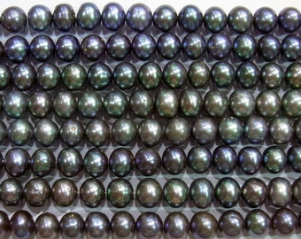 "Freshwater Pearl Beads Genuine Natural Pearl 4-5mm OffRound Black 15""L Wholesale Pearls"