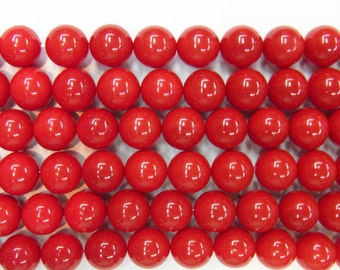 Coral Natural Genuine Loose Beads 6mm 8mm 10mm 12mm 14mm Round Shell Red Type A Grade 15 inches length, 38 cm - Wholesale Coral