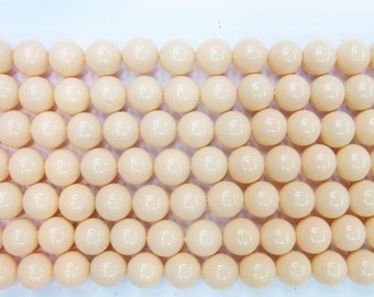 Coral Natural Genuine Loose Beads 6mm 8mm 10mm 12mm 14mm Round Shell Light Cream Type A Grade 15''L - Wholesale Coral