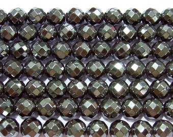 "Hematite Beads 10mm Round Cut Natural Bead Semiprecious Gemstone 15""L- Jewelry Supply"