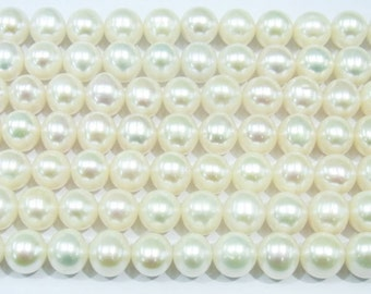 """Freshwater Pearl Beads Genuine Natural Pearl 8-9mm Offround White  15""""L 3660 Wholesale Pearls"""