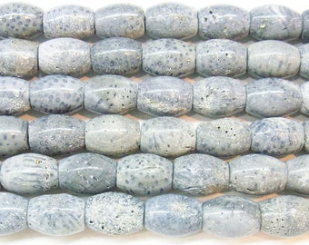 Coral Natural Genuine 12x16mm Rice Blue Semiprecious Gemstone Wholesale Beads 4401- 15''L Jewelry Supply Wholesale Beads