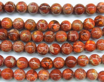"4mm/6mm/8mm/10mm/12mm Sea Sediment Imperial Jasper Beads Round Orange Loose Beads Semiprecious Gemstone 15""L 15""L  4421 Wholesale Beads"
