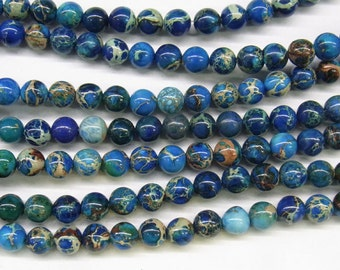 "4mm/6mm/8mm/10mm Sea Sediment Imperial Jasper Beads Round Light Blue Loose Beads Semiprecious Gemstone 15""L 4424- Wholesale Beads"