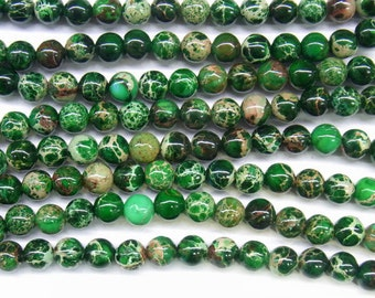 "Sea Sediment Imperial Jasper Beads 4mm Round Green Loose Beads Semiprecious Gemstone 15""L 15""L 4425 Wholesale Beads"
