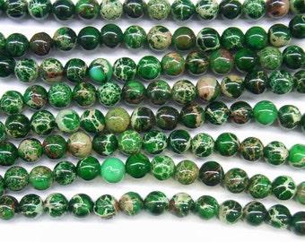 "Sea Sediment Imperial Jasper Beads 6mm Round Green Loose Beads Semiprecious Gemstone 15""L 15""L 4425 Wholesale Beads"