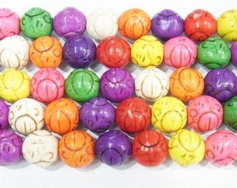 "Magnesite Beads 12mm Carved Round Semiprecious Gemstone 15""L Bead Genuine Natural - 4462-"