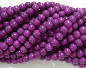 "4mm/6mm/8mm/10mm/12mm Magnesite Beads Round Purple Synthetic Semiprecious Gemstone 15""L Bead"