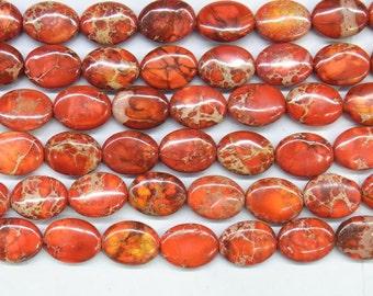 "Sea Sediment Imperial Jasper 12x16mm/18x25mm Oval Orange Loose Beads Semiprecious Gemstone 15""L 15""L  Supply 4538- Wholesale Beads"