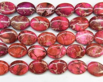"""Sea Sediment Imperial Jasper Beads 12x16mm Oval Red Loose Beads Semiprecious Gemstone 15""""L 15""""L  Supply 4527- Wholesale Beads"""