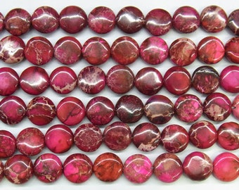 "Sea Sediment Imperial Jasper Beads 12mm Flat Round Red Loose Beads Semiprecious Gemstone 15""L Supply  4526- Wholesale Beads"