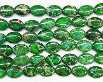 "Sea Sediment Imperial Jasper Beads 12x16mm Oval Green Loose Beads Semiprecious Gemstone 15""L 15""L  Supply  4536- Wholesale Beads"