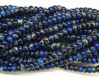 "Sea Sediment Imperial Jasper Beads 8mm Rondelle Loose Beads Semiprecious Gemstone 15""L 15""L Blue- 4545 Wholesale Beads"