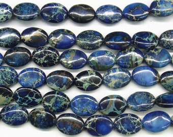"Sea Sediment Jasper Beads 12x16mm Oval Loose Beads Semiprecious Gemstone 15""L 15""L Blue 4542- Jewelry Supply Wholesale Beads"