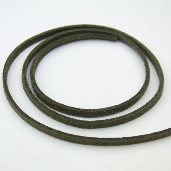 1.5x3mm Korean Velvet Cord Olive 20m String Wholesale Cord Finding Bulk Jewelry Supply