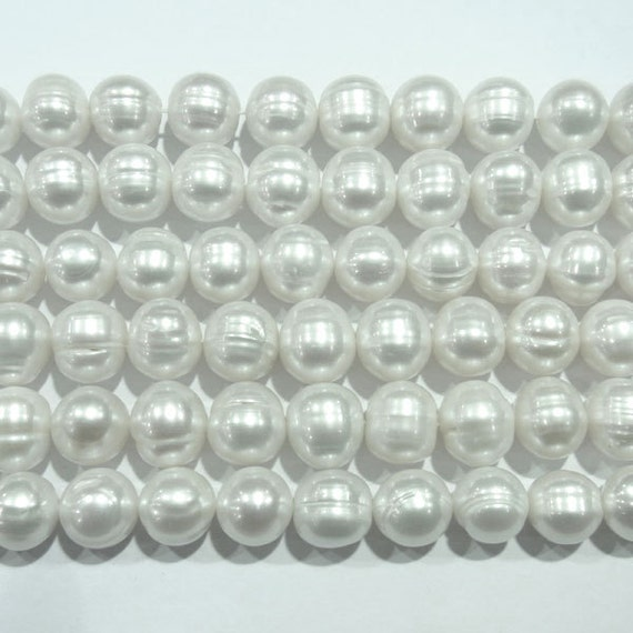 "Freshwater Pearl Beads Genuine Natural Pearls 10x11mm Offround White Strand 15""L  3844 Wholesale Pearls"