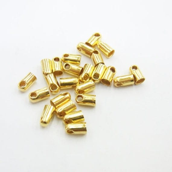 2.8x5mm Wire End Cord Cap Gold Tone 1000 Loose Beads Lot   4231 Cord Size 2mm Wholesale Clasp Finding Bulk Jewelry Supply