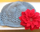 Red Dahlia Flower with Grey Kufi Hat