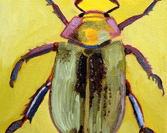 Yellow Beetle, GREETING CARD - insect art, beetle painting, beetle art print