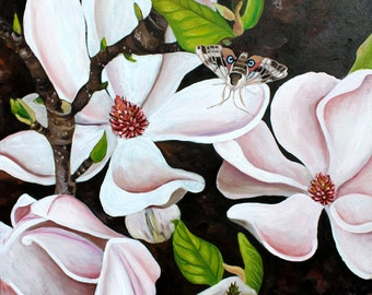 "Magnolia Art, Magnolia painting, Black Pink Green, Magnolias & Sphinx Moth, 11"" by 11"" PRINT"