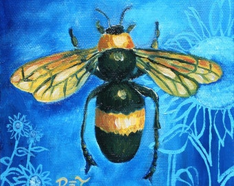 """Bee painting, Insect print, Blue and Yellow, Bumble Bee & Sunflowers, 11"""" x 11"""" PRINT"""