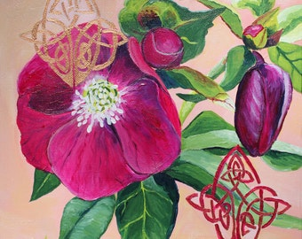 "Hellebore & Celtic Knots, 8"" x 8"" PRINT - pink flower art, Celtic art, pink flower prints, flower paintings, pink and green"