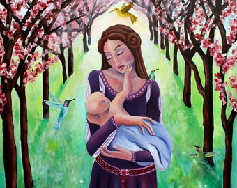 "First Touch, 8"" x 10"" PRINT - pregnancy art, mother and child art, mother and children painting"