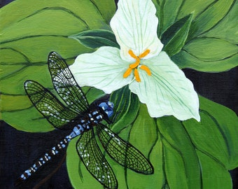 """Dragonfly & Trillium 8"""" x 8"""" PRINT - flower art, insect art, white flower, black, white and green, trillium painting"""