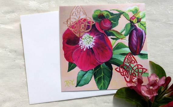 Hellebore & Celtic Knots GREETING CARD - pink flower art, celtic art, pink flower prints, flower paintings, pink and green