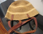 Vintage Sisal Handbag 1980s African Purse With Leather Shoulder Straps Earthtone Color Bohemian Classic