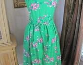 Vintage Malia Sundress Green Hawaiian Floral - Summer Fun Size 12