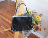 Reserved for UK .....Vintage Chic Black Patent Leather Kelly Purse w/ Bakelight Closure Madmen Style