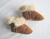 Sheepskin Baby Booties, Baby Shoes, Baby Moccasins Size 1