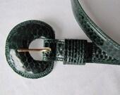 RESERVED .....Vintage Green Genuine Snake Skin Belt