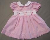 Vintage Smocked Tulip Pink Gingham Spring, Summer Dress Infant Size 6 months.