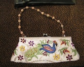 Vintage Silk Embroidered and Beaded Floral and Peacock Clutch, 70s purse