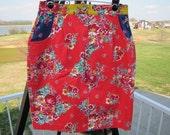 Vintage 80s Floral Denim Mini Skirt, Spring Has Sprung